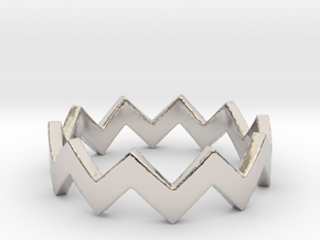 Zig Zag Wave Stackable Ring Size 4 in Platinum