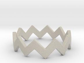 Zig Zag Wave Stackable Ring Size 4 in Natural Sandstone