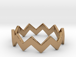 Zig Zag Wave Stackable Ring Size 5 in Polished Brass