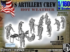 1-160 US Artillery Crew Hot Weather in Smooth Fine Detail Plastic
