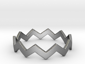 Zig Zag Wave Stackable Ring Size 10 in Fine Detail Polished Silver