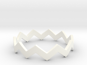 Zig Zag Wave Stackable Ring Size 10 in White Processed Versatile Plastic