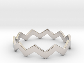 Zig Zag Wave Stackable Ring Size 12 in Rhodium Plated Brass
