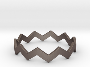 Zig Zag Wave Stackable Ring Size 12 in Polished Bronzed Silver Steel