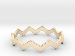 Zig Zag Wave Stackable Ring Size 13 in 14k Gold Plated Brass