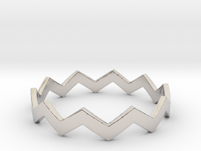 Zig Zag Wave Stackable Ring Size 13 in Rhodium Plated Brass