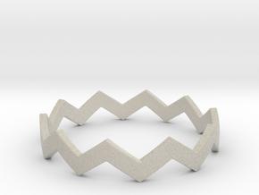 Zig Zag Wave Stackable Ring Size 13 in Natural Sandstone