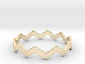 Zig Zag Wave Stackable Ring Size 14 in 14K Yellow Gold