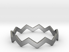 Zig Zag Wave Stackable Ring Size 14 in Fine Detail Polished Silver