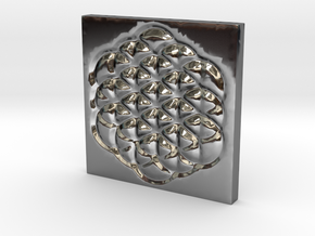 Flower of Life Square Pendant in Fine Detail Polished Silver