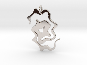Abstract Pendant in Rhodium Plated Brass