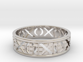 Size 9 Xoxo Ring A in Rhodium Plated Brass