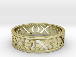 Size 11 Xoxo Ring A in 18k Gold Plated Brass
