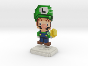 Super Plumber Green Bro Pixel Figurine in Full Color Sandstone