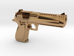Desert Eagle Keychain in Polished Brass