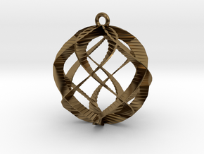 Spiral Sphere Ornament  in Polished Bronze