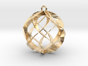 Spiral Sphere Ornament  in 14k Gold Plated Brass
