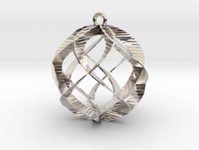 Spiral Sphere Ornament  in Rhodium Plated Brass