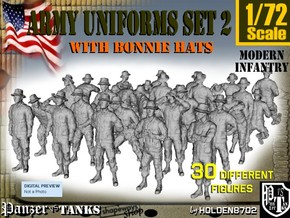 1-72 Army Modern Uniforms Set2 in Smooth Fine Detail Plastic