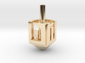 """Dreidel """"NESS GADOL HAYA SHAM"""" in 14k Gold Plated Brass"""