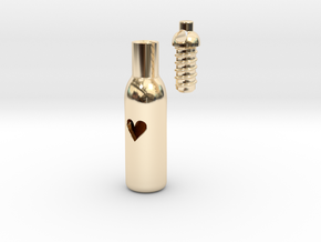 Message In A Bottle -Open Heart Version in 14k Gold Plated Brass