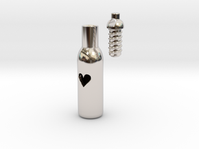 Message In A Bottle -Open Heart Version in Rhodium Plated Brass