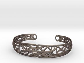 Radici Bracelet, Open M 60 mm in Polished Bronzed Silver Steel