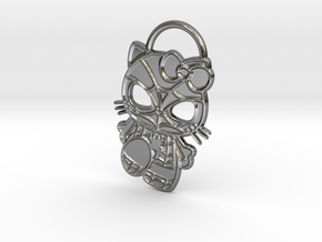 Hello Spider-Kitty Keychain in Fine Detail Polished Silver