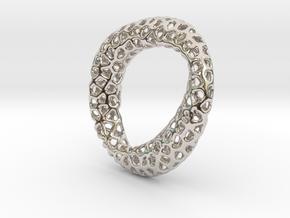 Voronoi pendant mobius in Rhodium Plated Brass