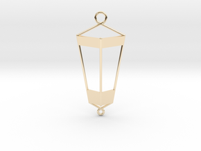 Lantern Pendant in 14k Gold Plated Brass