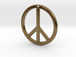 Peace Symbol in Polished Bronze