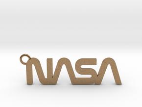 Nasa Keychain in Natural Brass
