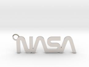 Nasa Keychain in Rhodium Plated Brass