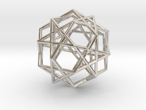 Star Dodecahedron in Rhodium Plated Brass