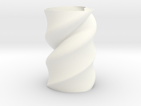 Twisted Heart Vase  in White Processed Versatile Plastic
