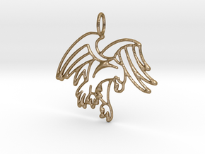 Tribal Eagle Pendant in Polished Gold Steel