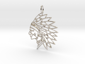 Tribal Chief Pendant in Rhodium Plated Brass
