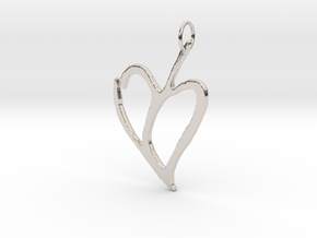 Heart 1 in Rhodium Plated Brass