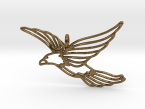 Flying Bird Pendant in Polished Bronze
