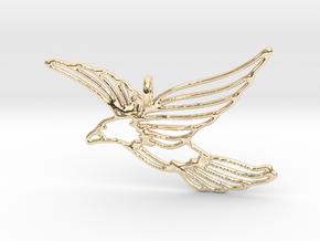 Flying Bird Pendant in 14k Gold Plated Brass