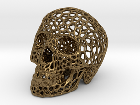 Human skull skeleton perforated sculpture in Polished Bronze