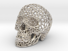 Human skull skeleton perforated sculpture in Rhodium Plated Brass