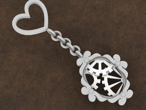 Victorian Timekeeper Key Ring Charm in White Strong & Flexible Polished