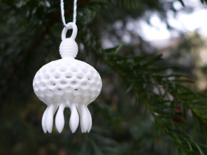 Anthocyrtium Ornament - Science Gift in White Strong & Flexible Polished
