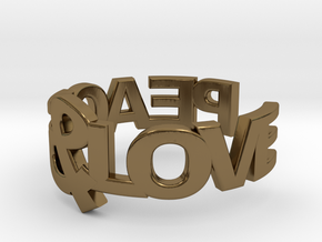 Peace&Love ring Size7 in Polished Bronze