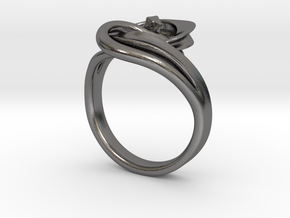 Intertwined Ring in Polished Nickel Steel