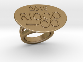 Rio 2016 Ring 17 - Italian Size 17 in Polished Gold Steel