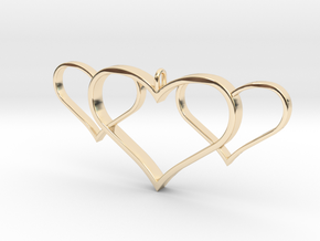 3 Heart Pendant in 14K Yellow Gold