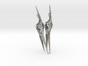 Pteranodon Skull Earring Pair in Raw Silver