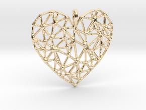 Triangular Geometric Grid Heart Pendant in 14k Gold Plated Brass